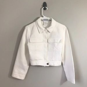 Chanel white moto jacket